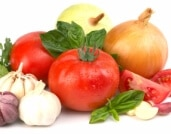Vegetables for Mediterranean diet (tomatoes, onion, garlic)