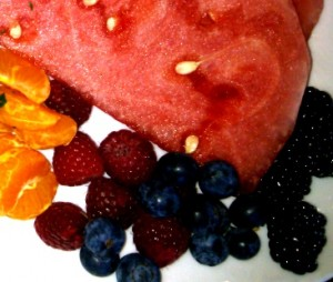Berries, oranges & melon instead of fried potatoes for breakfast