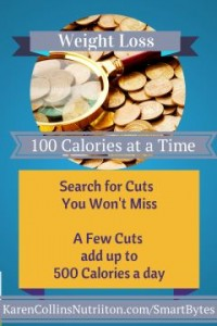 Lose weight with a few cuts of 100 calories that add up to 500 calories a day